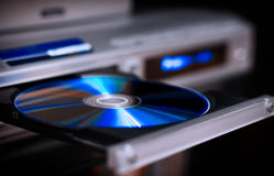 DVD player. Optical CD and DVD disc with music and movies Stock Images