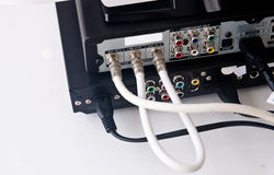DVD player plug in. Back of DVD player plug in Royalty Free Stock Photo