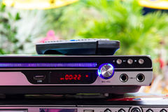 DVD player with remote control. On MP3 playing Royalty Free Stock Image