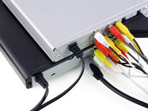 DVD  players with connected video cables Stock Photos
