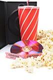 dvd, popcorn sody bilety Fotografia Royalty Free