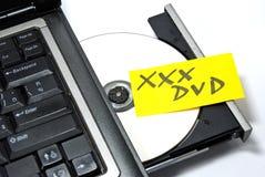 Dvd privé dans un ordinateur portatif Image libre de droits