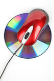 DVD and red computer mouse Royalty Free Stock Photo