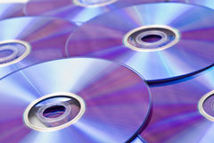 DVD's. A pile of dvd's shot at an angle Royalty Free Stock Photos