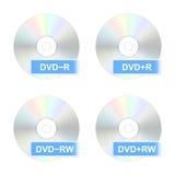 DVD-schijfpictogrammen Vector illustratie Stock Fotografie