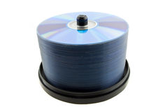 DVD spindle on white Background Royalty Free Stock Images