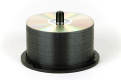 DVD stack on spindle Stock Photos