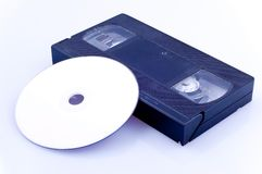 DVD - tape. DVD & VHS tape - recordable media royalty free stock photo