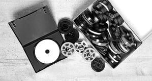 Dvd und alte 8 Millimeter und Super8 Stockfotos