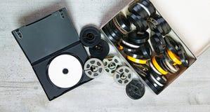 Dvd und alte 8 Millimeter und Super8 Lizenzfreies Stockbild