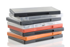 DVD video cases. A colorful plastic blank DVD video cases stock images