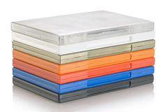 DVD video cases. A colorful plastic blank DVD video cases royalty free stock photo