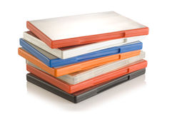 DVD video cases. A colorful plastic DVD video cases royalty free stock photos
