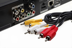 DVD video jack with cables Royalty Free Stock Photo