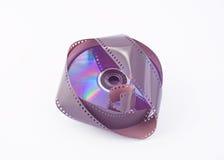 DVD y película 35m m Fotografía de archivo libre de regalías