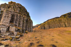 Dverghamrar玄武岩专栏,冰岛 图库摄影