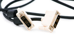DVI cable isolated on the white Royalty Free Stock Images