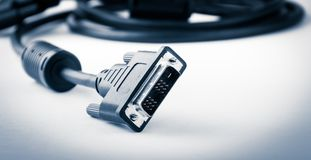 Dvi cable on white background Royalty Free Stock Photos