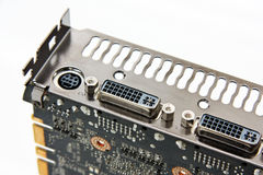 DVI connectors on a graphics card Royalty Free Stock Images