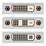 Dvi digital pc video connectors Royalty Free Stock Photos