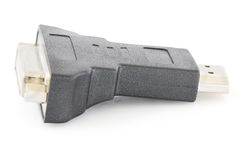DVI to HDMI Port converter. DVI to HDMI Digital Port converter on white background Stock Photos