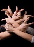 Dúvida esquerda ou direita - dedos Fotos de Stock Royalty Free