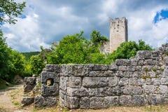 Dvigrad, Istria, Croatia. Dvigrad is an abandoned medieval town in central Istria, Croatia stock photo