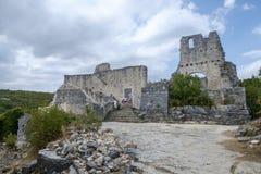Dvigrad medeltida stad i centrala Istria, Kroatien Arkivbilder