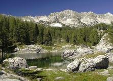 Dvojno Jezero i dalen av sju Triglav lakes Arkivfoton