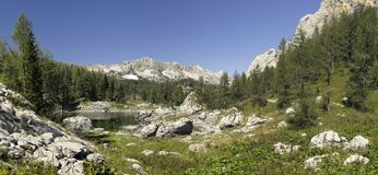 Dvojno Jezero in Valley of seven Triglav lakes Stock Photography
