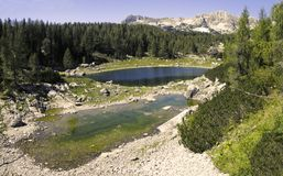Dvojno Jezero in Valley of seven Triglav lakes Stock Photos