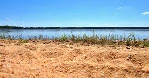 Dvoriste池塘桑迪岸在Trebon市附近的 库存图片
