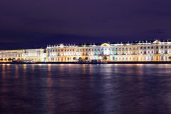 Dvortsovaya embankment at night. Saint Petersburg Stock Photos