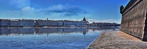 Dvortsovaya Embankment panorama in St. Petersburg Royalty Free Stock Photo