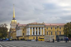 Dvortsovaya Square and Admiralty building. Autumn trees. Royalty Free Stock Photos