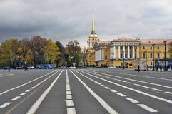 Dvortsovaya Square and Admiralty building. Autumn trees. Royalty Free Stock Photography