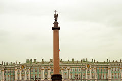Dvortsovaya square, Alexander`s column and Hermitage museum Stock Images