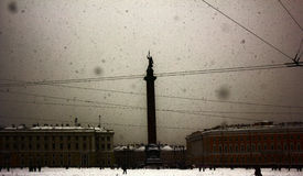 Dvortsovaya square knee-deep snow in a storm Royalty Free Stock Image