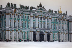 Dvortsovaya square knee-deep snow in a storm. Russia, Saint Petersburg - November 9, 2016: snow storm Blizzard in megapolise. Dvortsovaya square knee-deep snow Stock Images