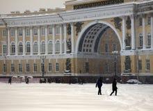Dvortsovaya square knee-deep snow in a storm. Russia, Saint Petersburg - November 9, 2016: snow storm Blizzard in megapolise. Dvortsovaya square knee-deep snow Royalty Free Stock Photos