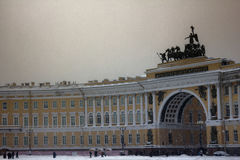 Dvortsovaya square knee-deep snow in a storm Royalty Free Stock Photography