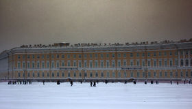Dvortsovaya square knee-deep snow in a storm Royalty Free Stock Image