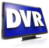 DVR Letters on Widescreen TV HDTV Television Royalty Free Stock Photos