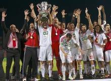 DVSC contra o fósforo de futebol húngaro do final da Taça de Gyor Fotografia de Stock