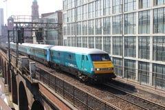 DVT - Drijfvan trailer op trein in Manchester Stock Afbeelding