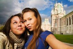 dwóch młodych podróżnych, Obrazy Royalty Free