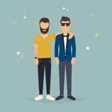 dwóch przyjaciół Pojęcie przyjaźń i zabawa z nowymi trendami Obrazy Stock