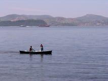 dwóch rybaków łodzi zdjęcia stock