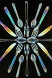 Dwójłomności cutlery polaryzujący Obrazy Stock