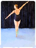 DW ballerina on pointe 1. Digital watercolor painting of a ballerina wearing a black leotard and ballet shoes in a pose on pointe and with her arms in a line Stock Photos